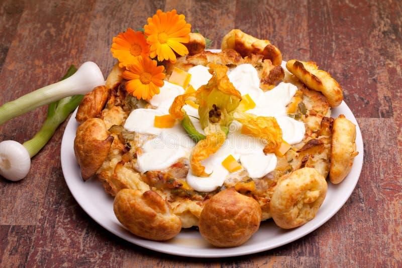 Gougère Cake With Mozzarella Top stock photography