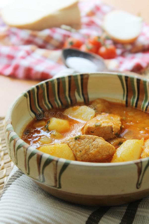 Goulash χοιρινού κρέατος με τις πατάτες στοκ φωτογραφία