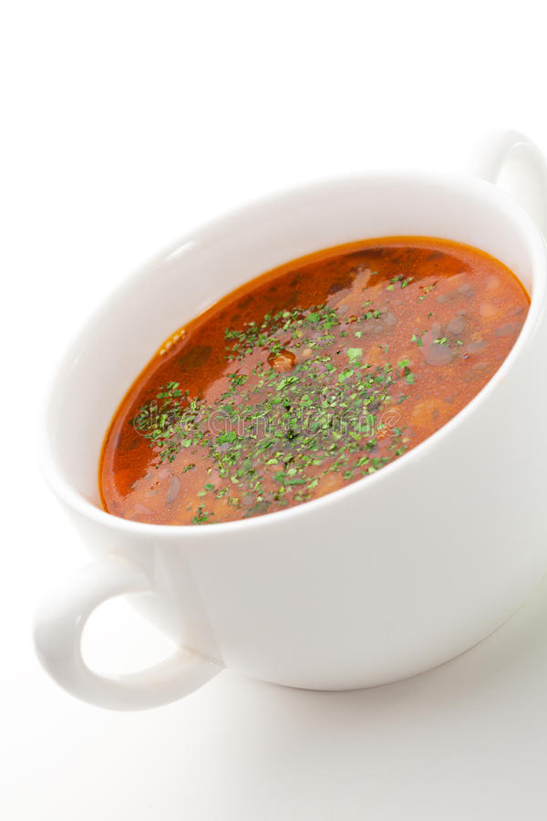 Goulash. Lamb Soup with Vegetables and Herbs (Goulash royalty free stock image