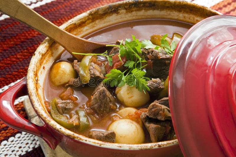 Goulash. Crock pot of beef goulash, ready to serve. Lovely warming food stock images