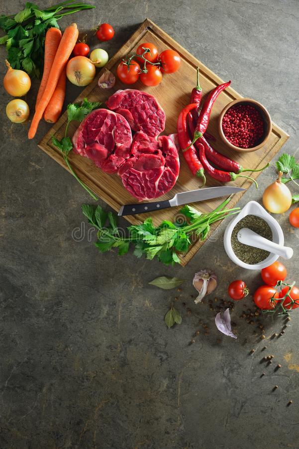 Goulash or beef stew ingredients, overhead view royalty free stock images