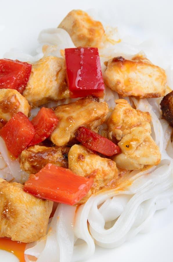 Goulash da galinha com macarronete de arroz imagens de stock