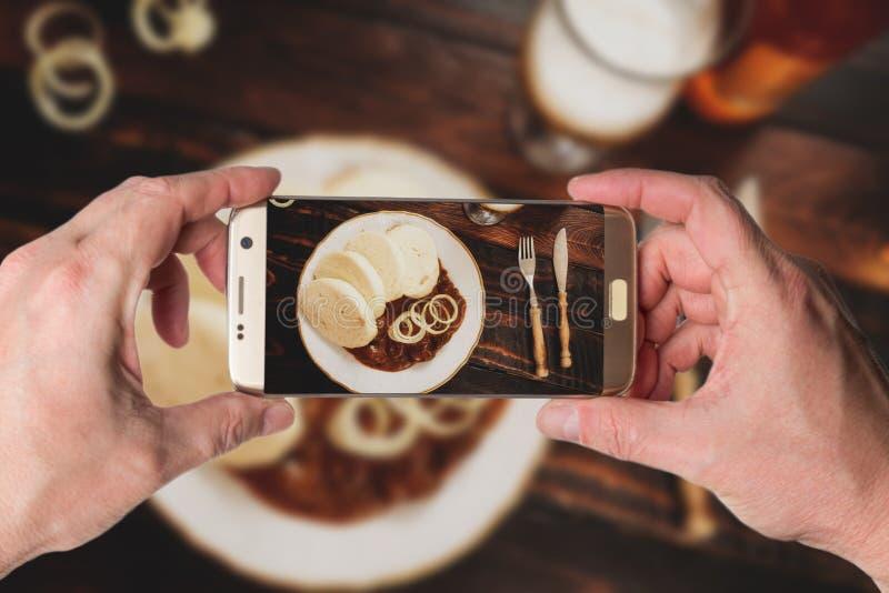 Goulash with dumplings royalty free stock photos