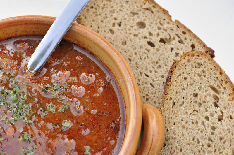 Goulash-soup. Goulash soup with some bread stock image