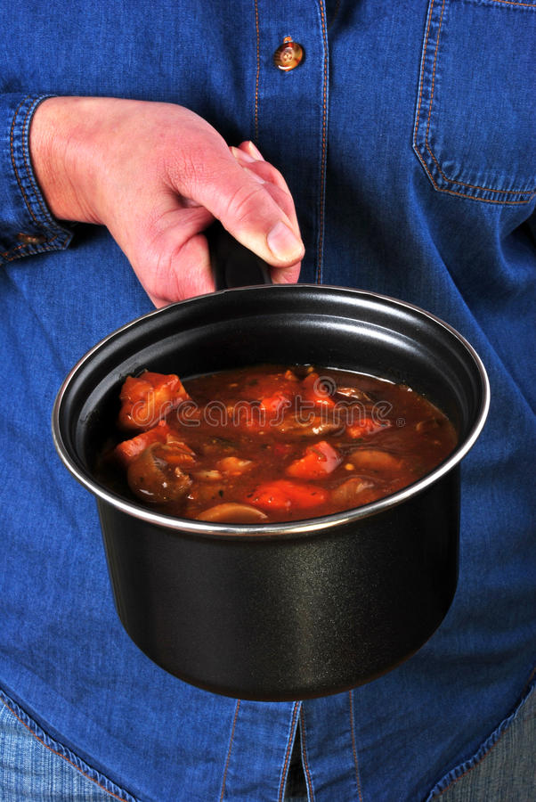 goulash with vegetable in a pot