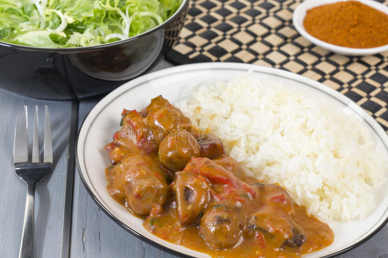Goulash With White Rice And Salad Stock Photos