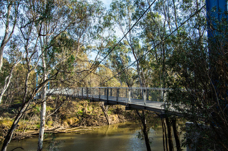 Goulburn河在Shepparton,澳大利亚 免版税库存照片