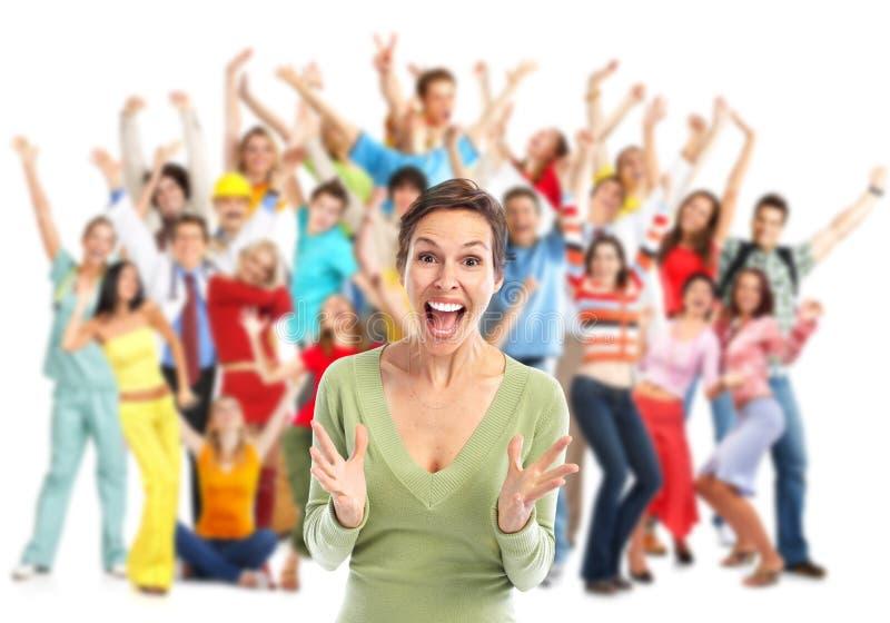Goup de povos felizes fotografia de stock