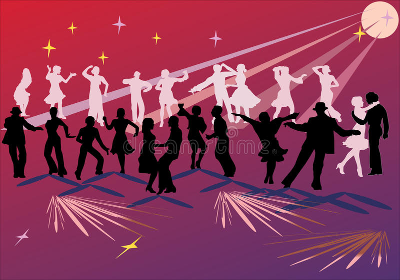 Goup dei danzatori su colore rosso royalty illustrazione gratis