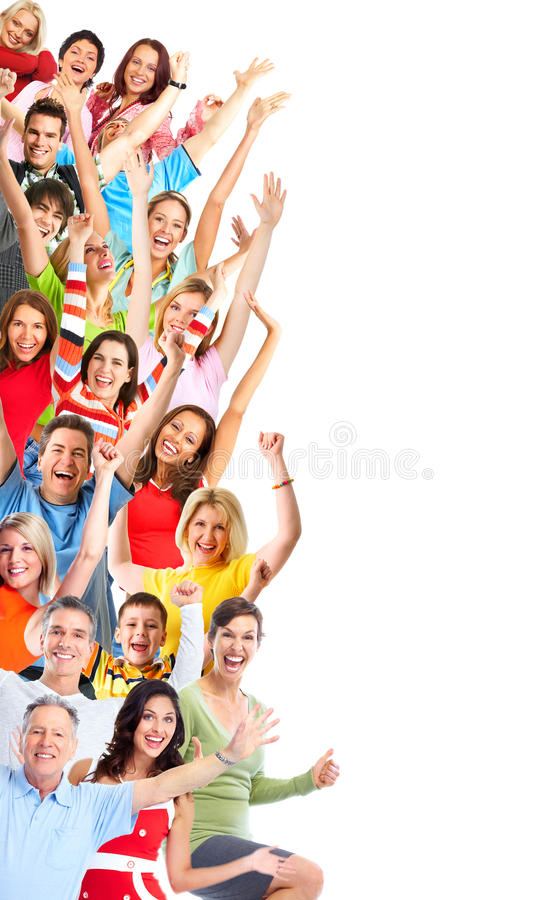 Group of happy people stock images