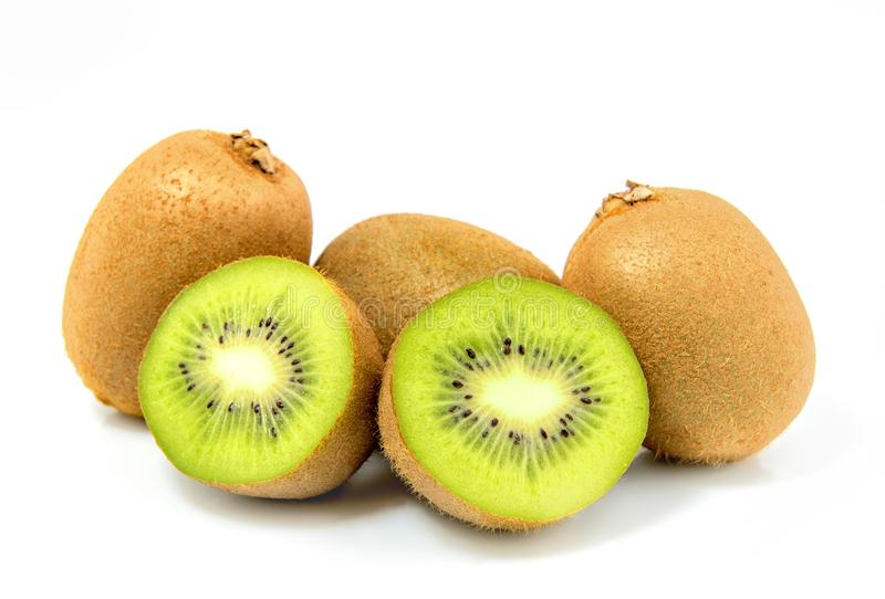 A group of kiwi fruit  in a white background royalty free stock photo