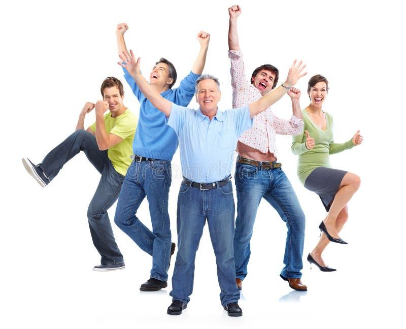 Goup van gelukkige mensen stock afbeelding