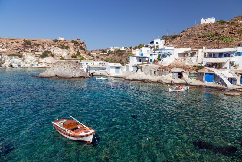 Goupa fiskebosättning, Kimolos ö, Cyclades, Grekland arkivfoton