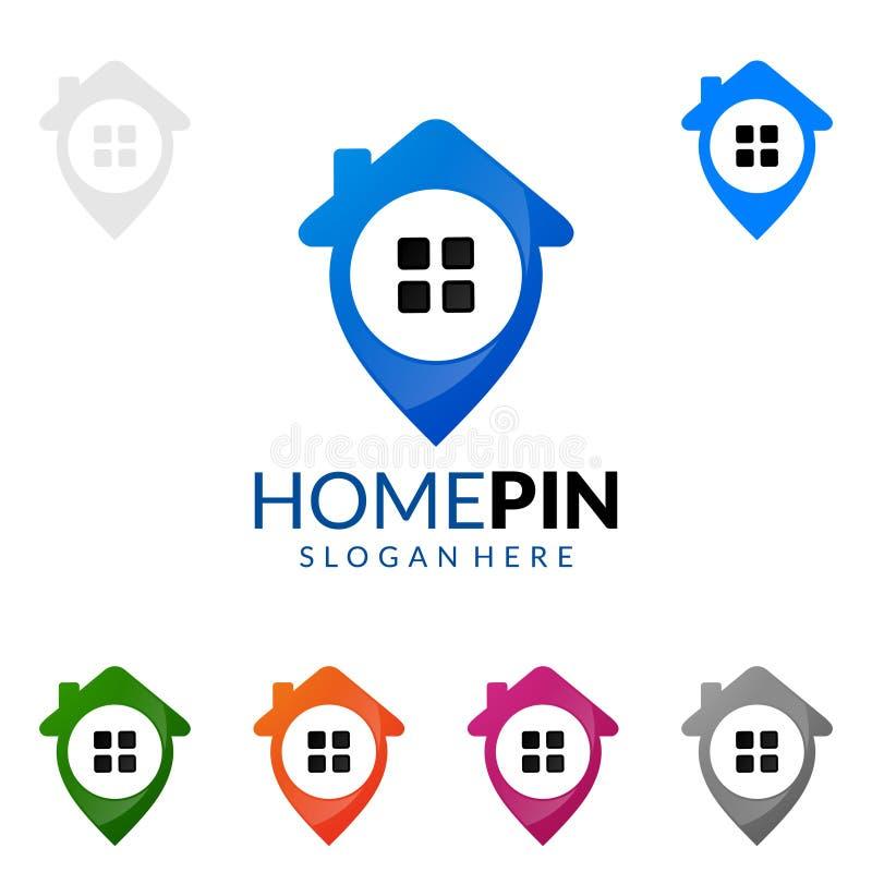 Goupille à la maison, conception de logo de vecteur d'immobiliers illustration de vecteur