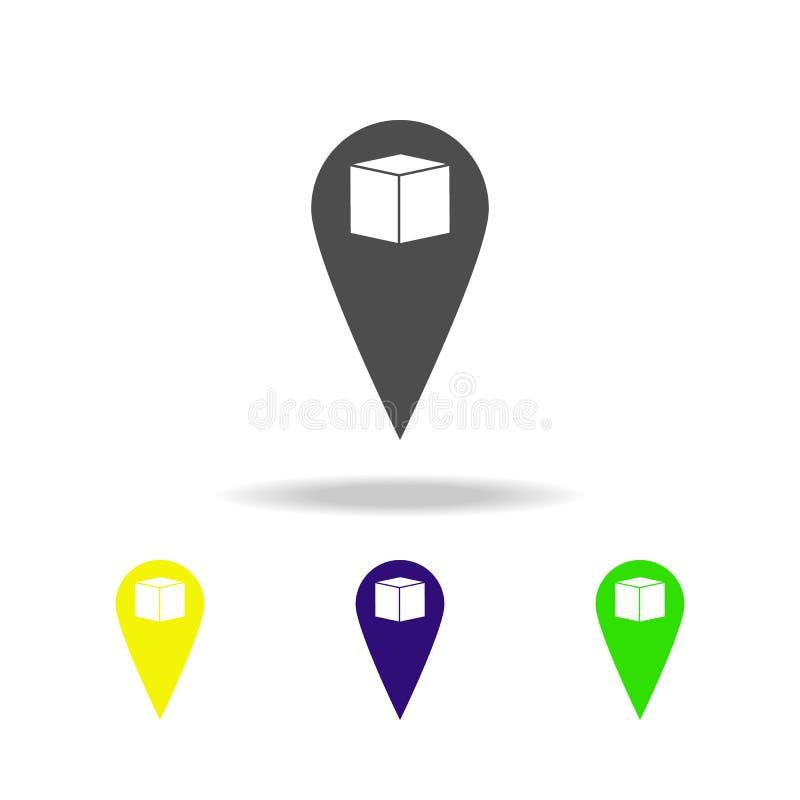goupille avec les icônes multicolores de boîte Signes et icône de collection de symboles pour des sites Web, web design, APP mobi illustration stock