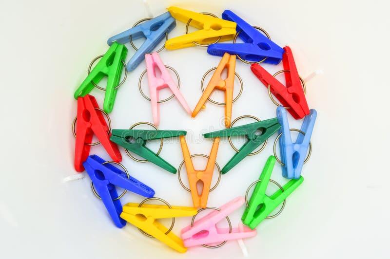 Goupille colorée de tissu images libres de droits