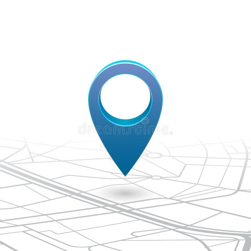 Goupille de navigateur de GPS vérifiant la couleur bleue sur la carte illustration de vecteur