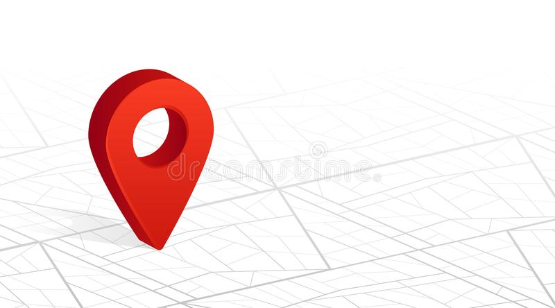Goupille de navigateur de GPS vérifiant la couleur rouge sur le fond de blanc de plan de ville de ville Illustration de vecteur illustration de vecteur