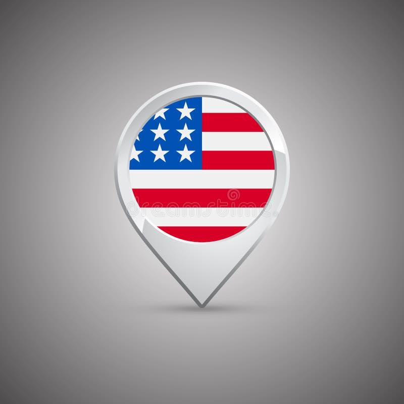 Goupille ronde d'emplacement avec le drapeau des Etats-Unis illustration stock