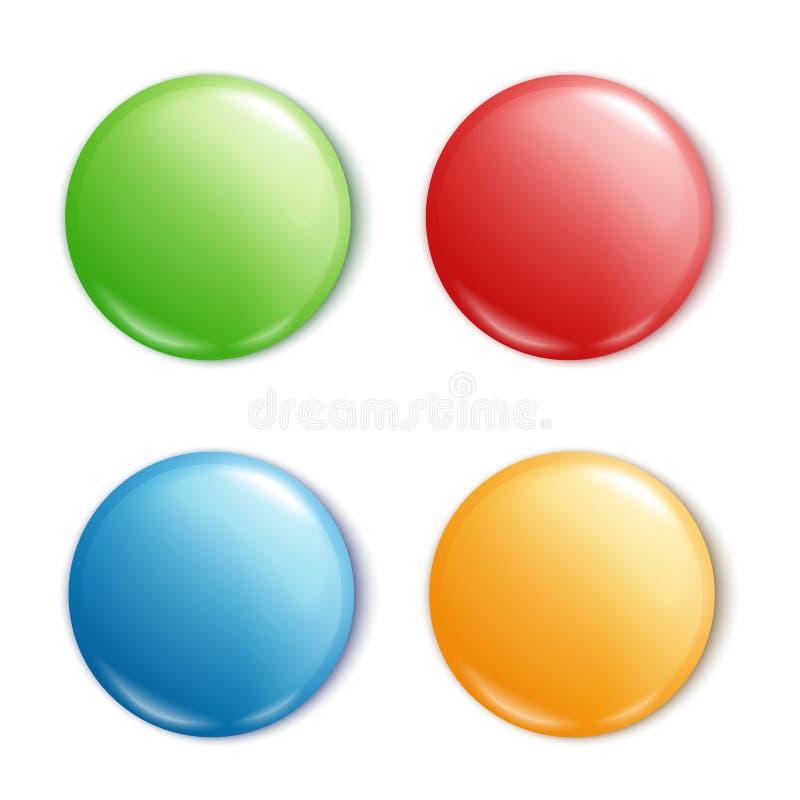 Goupille ronde de bouton réglée - maquette vide des formes brillantes colorées de cercle avec l'espace des textes dans la couleur illustration stock