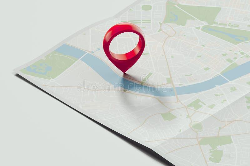 Goupille rouge de geotag ou de carte sur la carte réaliste rendu 3d illustration de vecteur