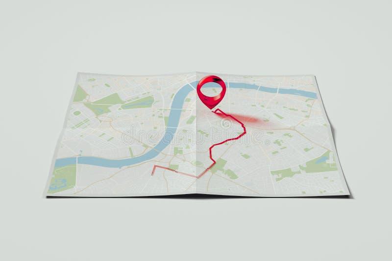 Goupille rouge de geotag ou de carte sur la carte réaliste rendu 3d illustration stock