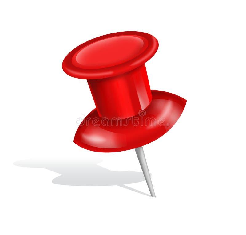 Goupille rouge de poussée d'isolement sur le fond blanc illustration stock