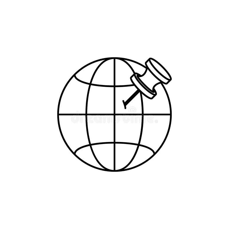 goupille sur l'icône de globe Élément d'illustration de navigation Icône de la meilleure qualité de conception graphique de quali illustration de vecteur