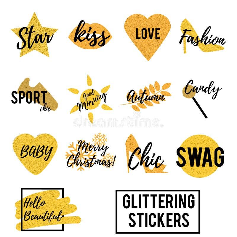 Goupilles éclatantes d'or à la mode à la mode Corrections fraîches, insignes, autocollants avec le texte, messages de sms d'isole illustration stock