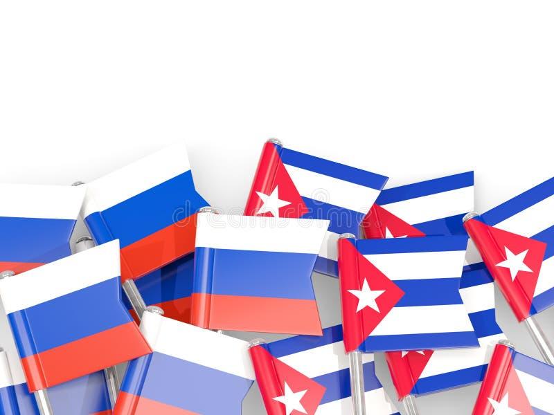 Goupilles avec des drapeaux de la Russie et du Cuba d'isolement sur le blanc illustration stock