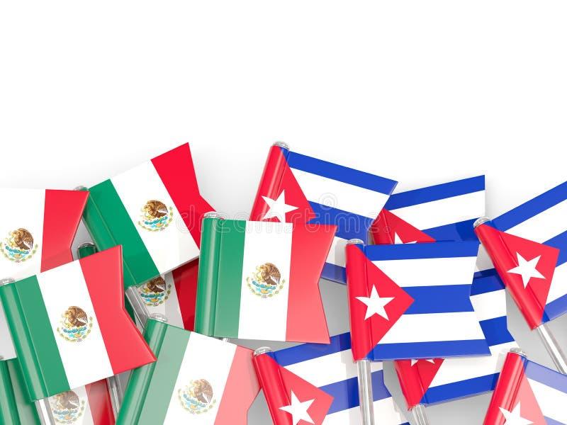 Goupilles avec des drapeaux du Mexique et du Cuba d'isolement sur le blanc illustration de vecteur