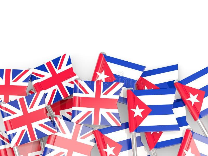 Goupilles avec des drapeaux du R-U et du Cuba d'isolement sur le blanc illustration stock