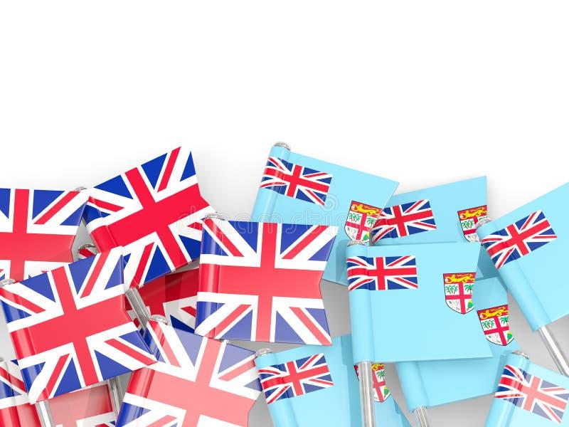 Goupilles avec des drapeaux du R-U et du Fiji d'isolement sur le blanc illustration libre de droits