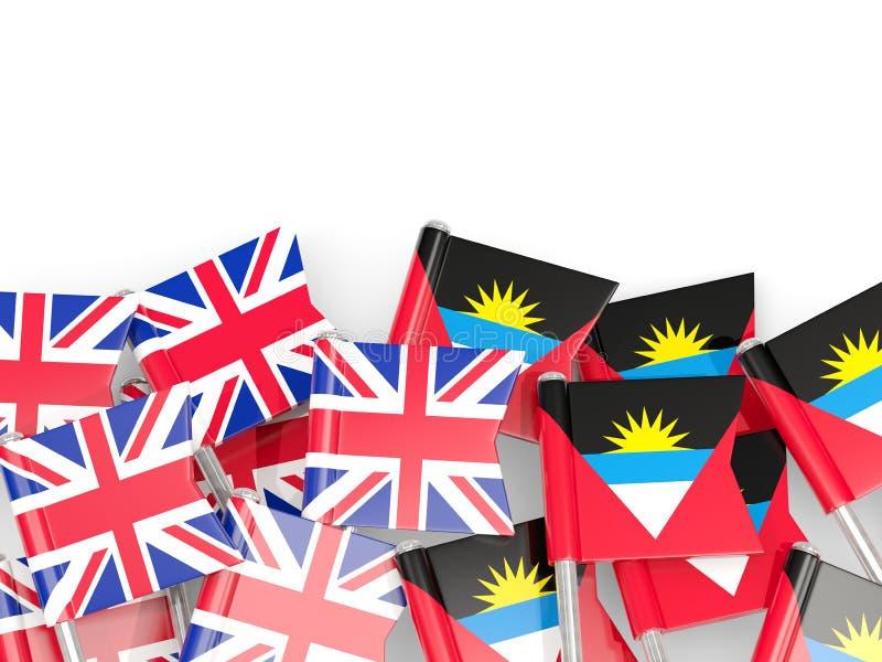 Goupilles avec des drapeaux du R-U et l'Antigua et le Barbuda d'isolement sur le blanc illustration de vecteur