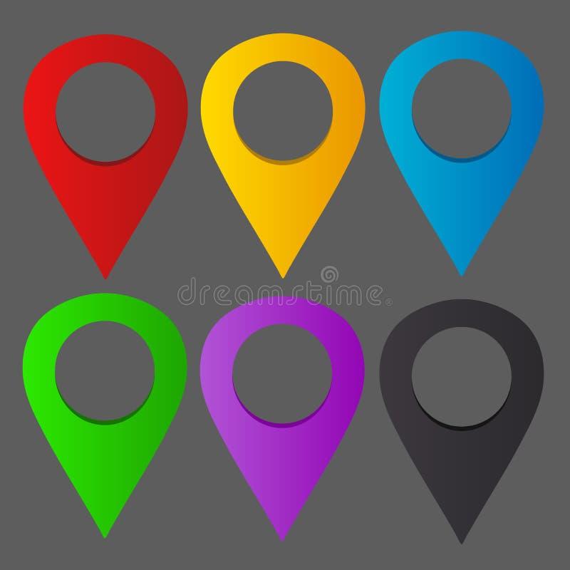 Goupilles colorées d'emplacement images libres de droits