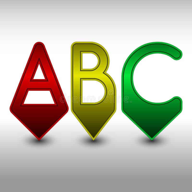 Goupilles d'ABC en rouge, jaune et vert illustration libre de droits