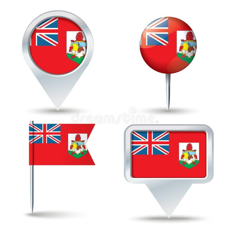 Goupilles de carte avec le drapeau des Bermudes illustration libre de droits