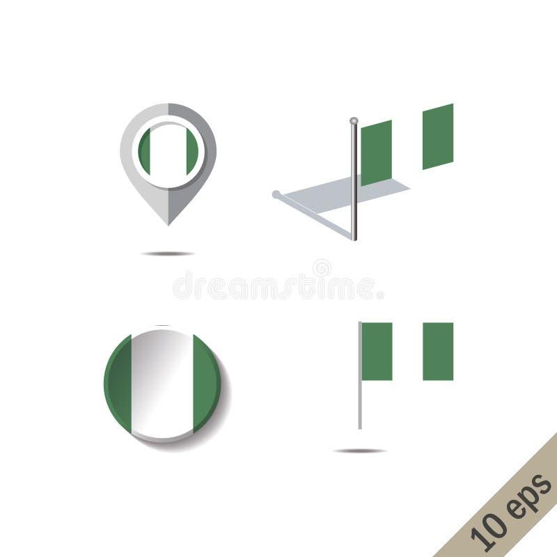 Goupilles de carte avec le drapeau du NIGÉRIA illustration libre de droits