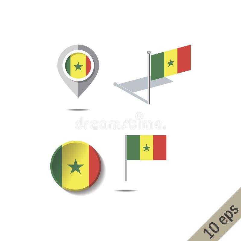 Goupilles de carte avec le drapeau du SÉNÉGAL illustration de vecteur