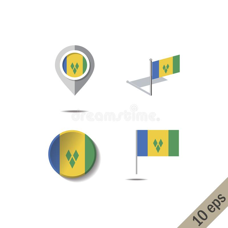 Goupilles de carte avec le drapeau du SAINT VINSENT ET DES GRENADINES illustration libre de droits