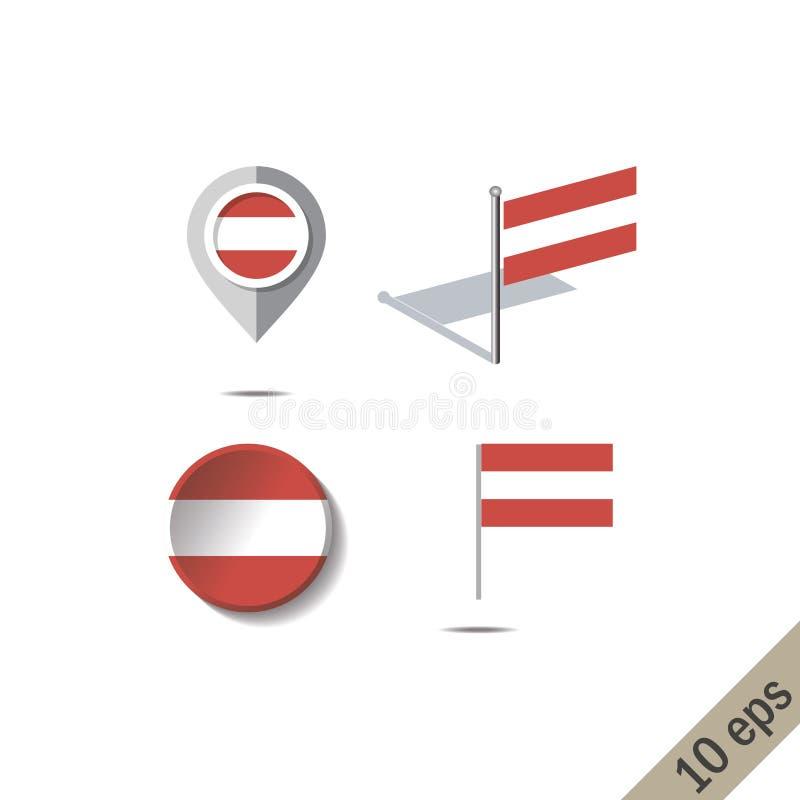 Goupilles de carte avec le drapeau de l'Autriche illustration libre de droits