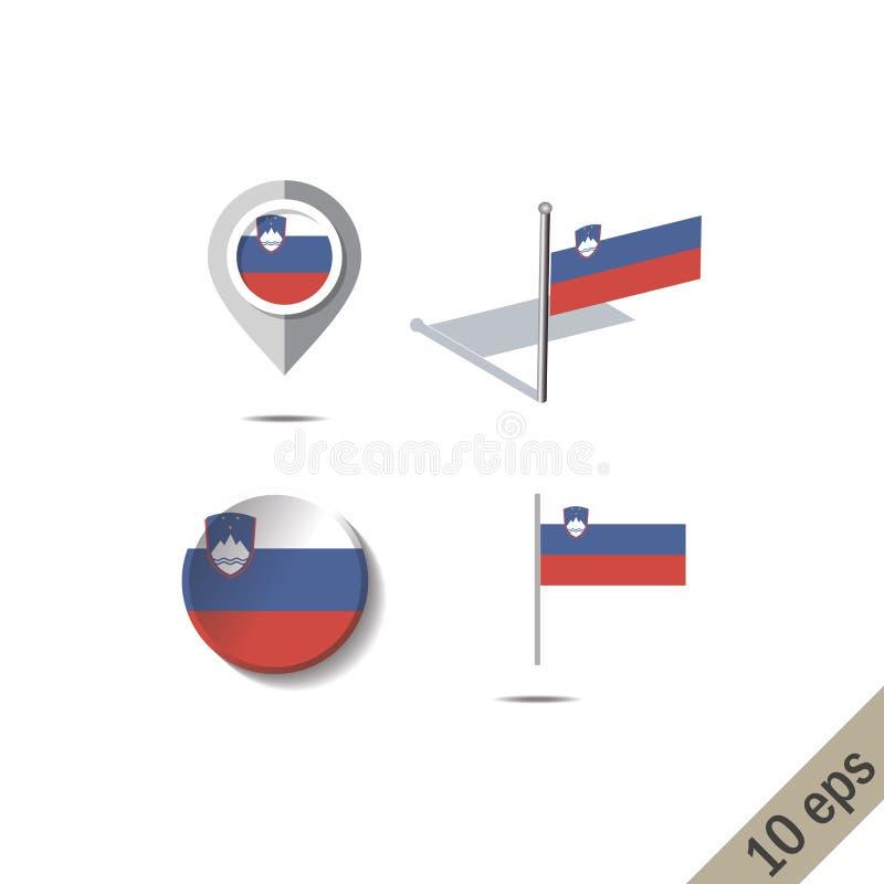 Goupilles de carte avec le drapeau de la SLOVÉNIE illustration stock