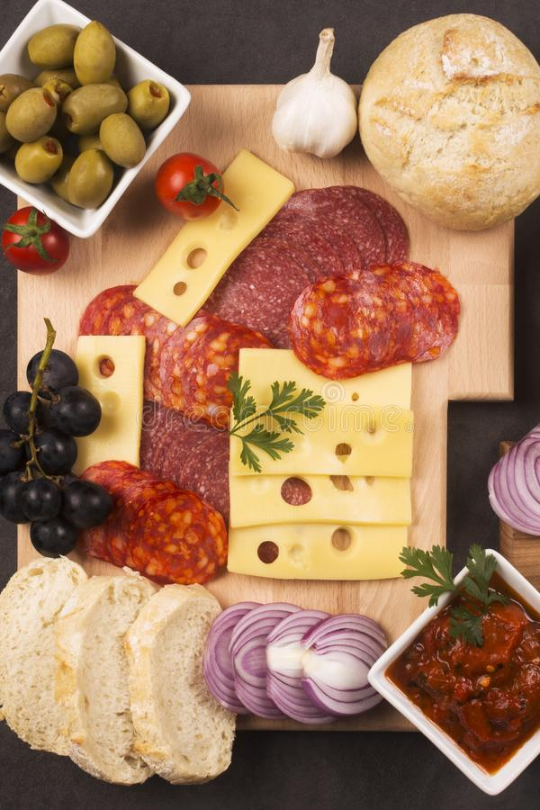 Gourmet appetizer platter. Gourmet appetizer or breakfast platter with garnish in restaurant, food service industry and catering concept stock photos
