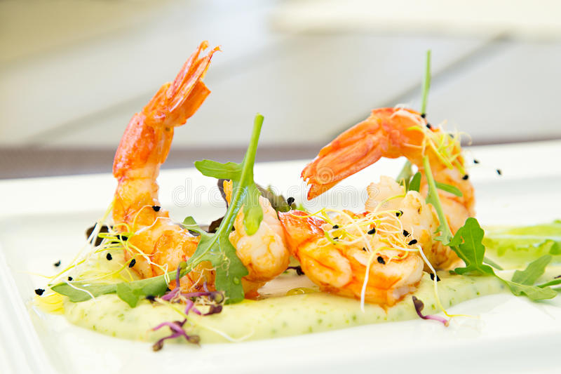 Gourmet appetizer with shrimp stock photography