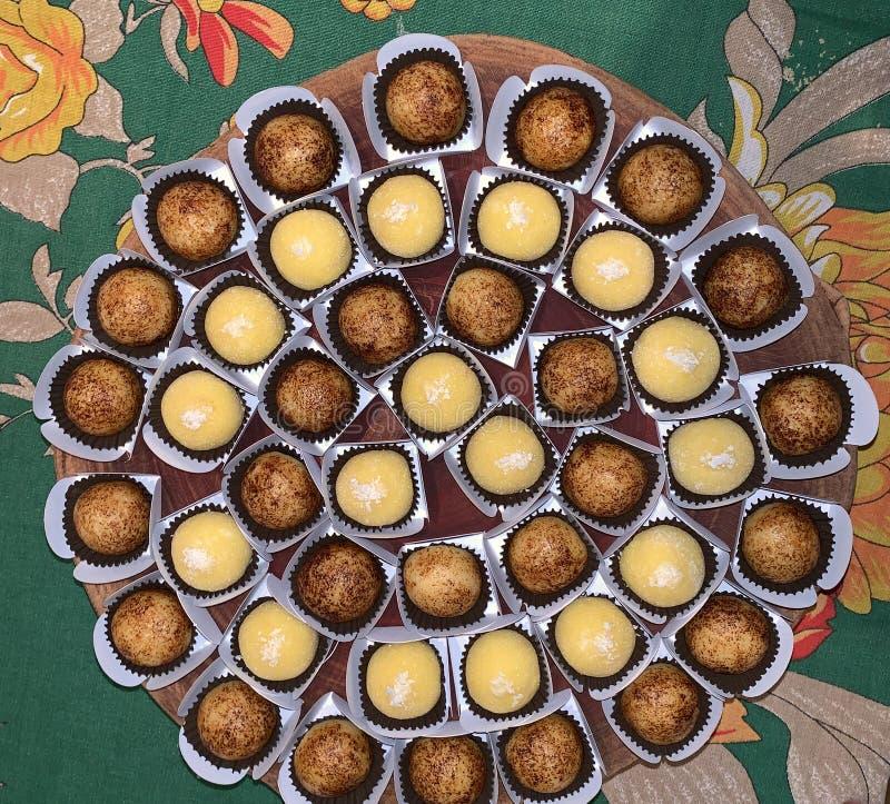 Gourmet brigadeiro. Traditional sweet with chocolates stock photography