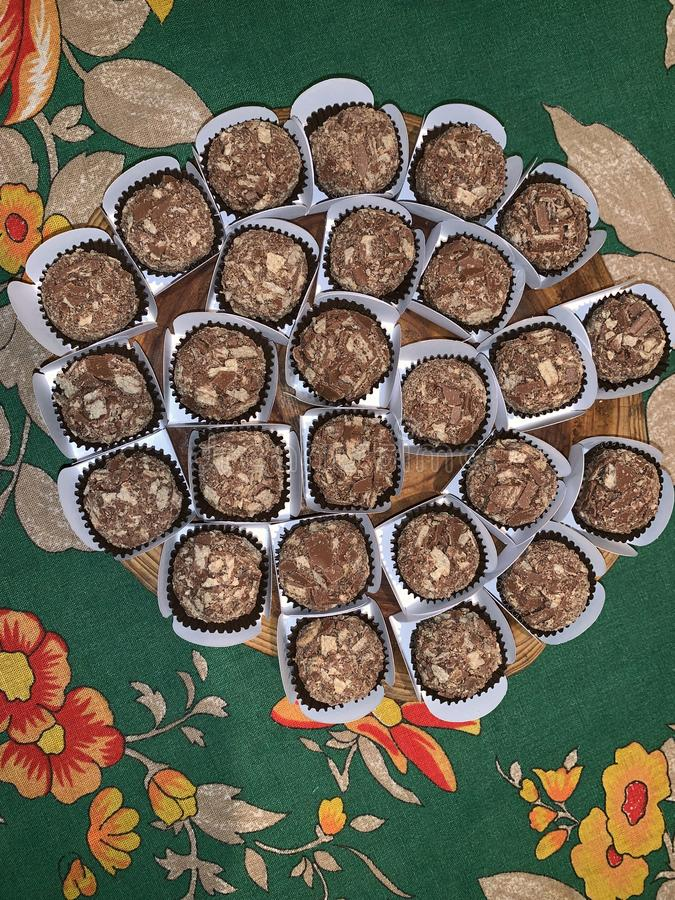 Gourmet brigadeiro. Traditional sweet with chocolates stock image