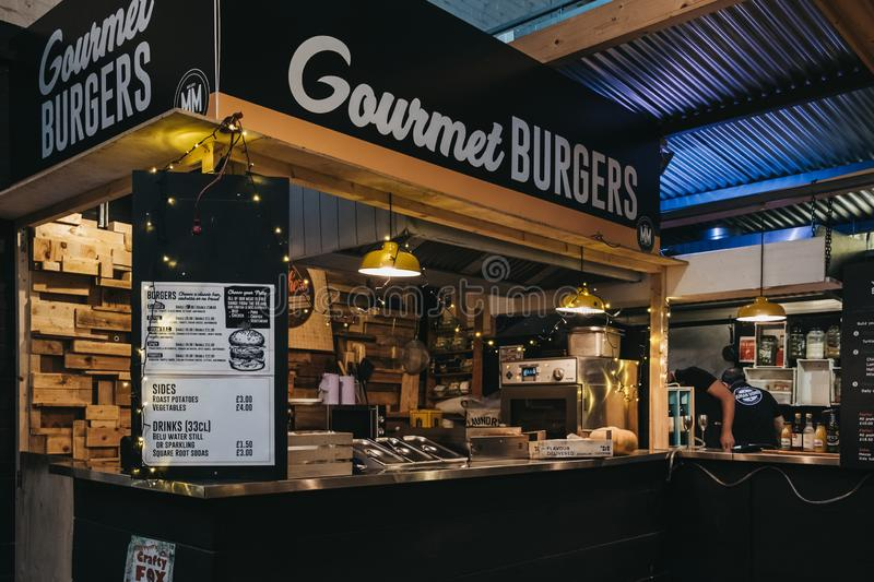 Gourmet burger stand in Mercato Metropolitano market in London royalty free stock photography