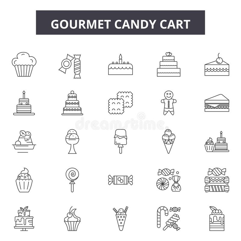 Gourmet candy cart line icons, signs, vector set, outline illustration concept vector illustration