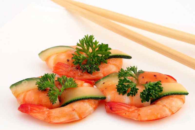 Gourmet chinese food - broiled king tiger prawns on white stock photos