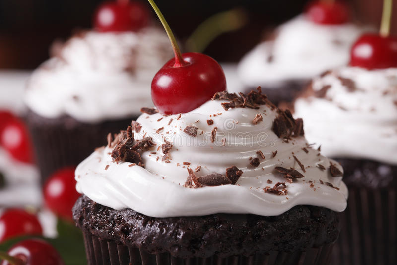 Gourmet chocolate cupcakes Black Forest macro. Horizontal. Gourmet chocolate cupcakes with cherry Black Forest macro. horizontal stock photography